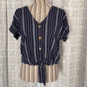 Tops - Striped Button Down Top